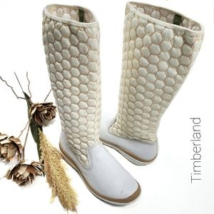 Timberland Quilted White Tan Flat Boots 8m